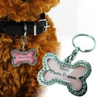 Wholesale Pet Identification Tag Metal Diamante Bone Type Tag Pendant For Pet Dog Cat