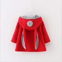 2016 Nuevos regalos de otoño invierno de los bebés Orejas de conejo con capucha princesa Jacket Coats infantil de la muchacha del algodón Outwear linda de los niños chaquetas de Navidad