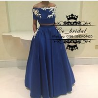 arabia middle east - Two Pieces Appliques Lace A Line Prom Dresses With Pocket Short Sleeve Formal Evening Gowns Saudi Arabia Dubai Middle East Plus Size Dresses