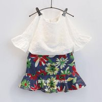 beatiful clothes - 2016 Baby girl kids Summer Clothes piece set outfits Lace hollow crochet tops shirt vest blouse floral skirt shorts Beatiful