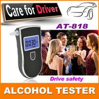 Wholesale 2015 NEW Hot selling Professional Police Digital Breath Alcohol Tester Breathalyzer AT818 mouthpieces