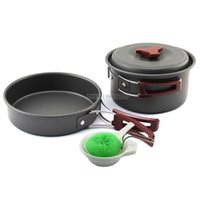 barbecue cookware - Hard anodic oxidation camping cookware set barbecue pot set outdoor portable jacketed kettle