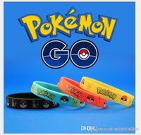 Wholesale 4 Colors poke go Cartoon PIKACHU Soft Bracelet Silicone Fashion Bracelets Wristbands for men and women