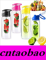 Wholesale 800ML Fashion Flesh Fruit infuser infusing Water Bottle Sports Fitness Health Lemon Juice Make Bottle Cycling Camping Cu