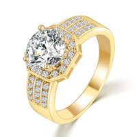 Wholesale Princess Queen Fsahion Stackable Rings With Clear Zircon Rings Gold Plated For Women Female Fashion Original Jewelry