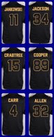 allen football - 2016 Pro Line Black Gold Collection jerseys Janikowski Jackson Crabtree Cooper Carr Allen Drop Shipping Cheap Top Quality