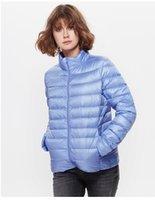 Wholesale European Thin Short plus size Women long down coat winter warm outwear overcoat parkas jacket Stand Collar Light Coat