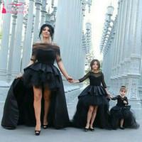 beach wedding outfits - Black Dynamic Wedding Dress Parent child outfit Sleeve TuTu Skirts Hi Lo Elegant Bridal Gowns Sweety Child Flower Girls Dress
