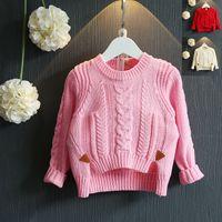 Wholesale Pullover sweaters newborn Kids Girls Knit long sleeve sweaters bows Fall Winter outwear knit sweaters children s clothes truelovewangwu