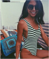 Wholesale Sexy Monokini Swimsuits Thong One Piece Swimwear Black Striped Swimsuit Girls One Piece Backless High Cut Out Swimwear Women