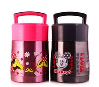 Cheap Mickey Minnie Mouse Stainless Steel Insulated Lunch Box for Kids Thermal Food Jar Lunchbox Thermos for Food Container Soup Mug