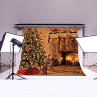 Wholesale Yame ft h x5ft w Christmas Tree and Fireplace Backdrop Background