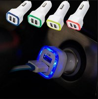 Car Chargers arrival uk - New Arrival A A Dual USB Port LED Car Charger Adapter for Universal Smart Phone Tablet
