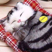 Wholesale 2016 Lovely Simulation Animal Doll Plush Sleeping Cats Toy with Sound Kids Toy Birthday Gift Doll Decorations stuffed toys