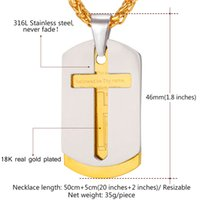 bible dogs - U7 Stainless Steel Men Chain Bible Lords Prayer Cross Necklace Pendant K Gold Plated Double Dog Tags Christian Jewelry P682