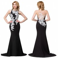 Wholesale Vintage Mermaid Prom Dresses Black with White Appliques Jewel Neck Sheer Sexy Backless Long Evening Dresses Formal Party Celebrity Gown