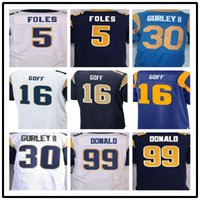 Wholesale Best quality jersey Men s Todd Gurley II Aaron Donald Nick Foles Jared Goff elite jersey biue and Whtie Size