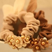Wholesale 4pcs Bunny Ears With Flowers Hair Rope Tiny Flowers With Colored Beads Elastic Hair Bands Ponytail Holder Hair Accessories For Women