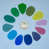 Wholesale Bulk quot Bright Collection Beach Sea Glass Beads Drilled Jewelry Necklace Pendant Bracelet Earring Making Decor JCT ECO