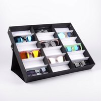 Wholesale Black box white silk Gird Eyewear Sunglasses Watches Display Storage Box Case Holder Tray Women Men Jewelry Container