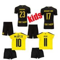 Wholesale 2016 Kids Borussia Dortmund soccer jerseys Youth Dortmund Kit Home Away M GOTZE REUS PULISIC KAGAWA MOR Boys football Sets