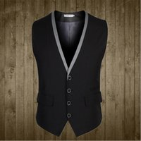 Wholesale Men Suit Vest Buttons V Collar Classic Dress Slim Fit Vests Male Sleeveless Mens Formal Wedding Waistcoat Plus Size