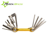 Wholesale ROCKBROS in Cr Mo Metallic Bike Multi Function Mini Pocket Tool Bicycle Repair Tools Ferramentas Set Kit Hex Opener