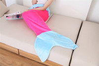 Wholesale 2016 fashion winter Children Mermaid Tail Wrap Soft Fleece Blanket Bed snuggle in kids Sleeping Bag Cocoon Costume