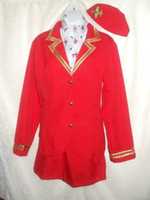 air hostess fancy dress - Ladies Sexy Red Trolley Dolly Virgin Air Hostess Fancy Dress Costume S XL