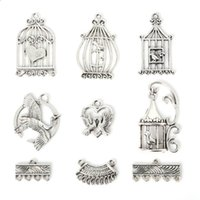 antique metal bird cages - New New Zinc Alloy Bird Cage Pendants Charm Mixed Antique Silver Plated Charms Metal Jewelry Findings for DIY Maki