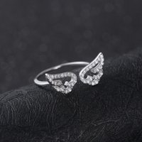 beautiful set wings - birthday gift high quality fashion angel wing shape ring sterling silver jewelry China beautiful gift to girl and ladies
