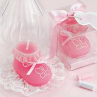 La vela rosada del zapato del calcetín del bebé para los regalos de los recuerdos del cumpleaños de la fiesta de bienvenida al bebé del banquete de boda favorece el nuevo envío libre caliente de DHL