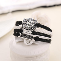 best friend symbols - Hot Sell Best Friend Series Jewelry Hand woven Black and White Leather Bracelet Infinity Symbol and Owl Charm Bracelet Infinity Bracelet