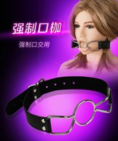 mouth gag spider gag - Adjustable Black PU Leather Belt Spider Mouth Gag Stainless Steel Open Mouth Sex Products For Women SexToys BDSM Restraint Bondage Set