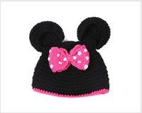 bebe caps - Lovely Winter Newborn Baby Princess Wool Mickey Caps Kid Bebe Bow Knitted Hat Boy Girl Soft Beanies Children Casual Head Caps