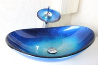 Wholesale Toughened glass hand wash basins hand painted art bathroom sink basin sink basin basin basin basin basin dresser wash basin N