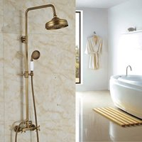 adjustable height shower head - new Antique Brass Adjustable Height Shower Faucet quot Rainfall Shower Head Mixer Taps Wall Mounted