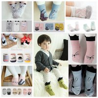Wholesale 75 Color Kids D Non Slip Floor Socks Animal Fruit Socks Cartoon Print Ship Socks Fashion Cute Sock Slippers Cat Dog Bear Beard Shark B572