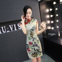 Wholesale Fashional Midi Silk Dress for Sale Chinese Hand made Cheongsam Dress Exquisite Needlework Delicate Embroidery Pattern