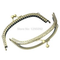ball clasp handbag - Bronze Tone Ball Carved Arch Frame Kiss Clasp Lock With Handle For Purse Bag Handbag Handle mx7cm