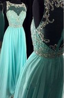 Wholesale A Line New Fashion Prom Dresses Crystal Chiffon Long Prom Gown Sexy Evening Gown