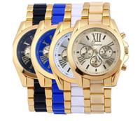 al por mayor ginebra clásica-Lujo de la manera Reloj de Ginebra para hombre Casual banda de pulsera de acero inoxidable clásico analógico de cuarzo relojes de negocios creativa para las mujeres