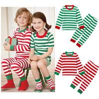 Compra Navidad regalos para los niños-2016 navidad mejor para las muchachas 2pcs de los cabritos del niño muchacha del bebé de los niños rayados Equipos de buena calidad pijama de dormir Set en stock