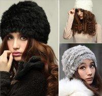Wholesale new hot Ladies Winter Russian Style Warm Fluffy Faux Fur Cap Headband Warmer Ear Ski Hat Fashion Open Top Soft Snow Beanies