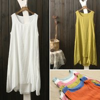 Wholesale 2016 new Sleeveless vest dress color double thin cotton art RETRO all match thin long skirt in summer bottoming