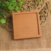 Wholesale customization Solid wood Coaster F001022 Beech Placemats Natural Style Multipurpose Pastry tray Dessert plate fruit dish