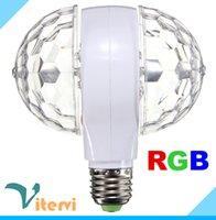Wholesale 2016 double Balls LED stage light E27 W V v RGB led bulb Colorful Auto Rotating RGB Crystal Stage lamp double Balls light