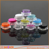 Wholesale 3g Plastic Cosmetic Container Nail Polish Cream Sample Bottle Empty Lip Balm Packing Square Bottom Jar