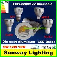 aluminum casts - New white GU10 GU5 MR16 E27 COB LED Bulbs Light Dimmable Led W W W Die cast Aluminum Spot lights v v v