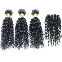 Cheap Brazilian curly human braiding hair With lace frontal closure 4Pcs Lot Natural Color Can Be Dyed and Bleached 30 inch human hair extensions